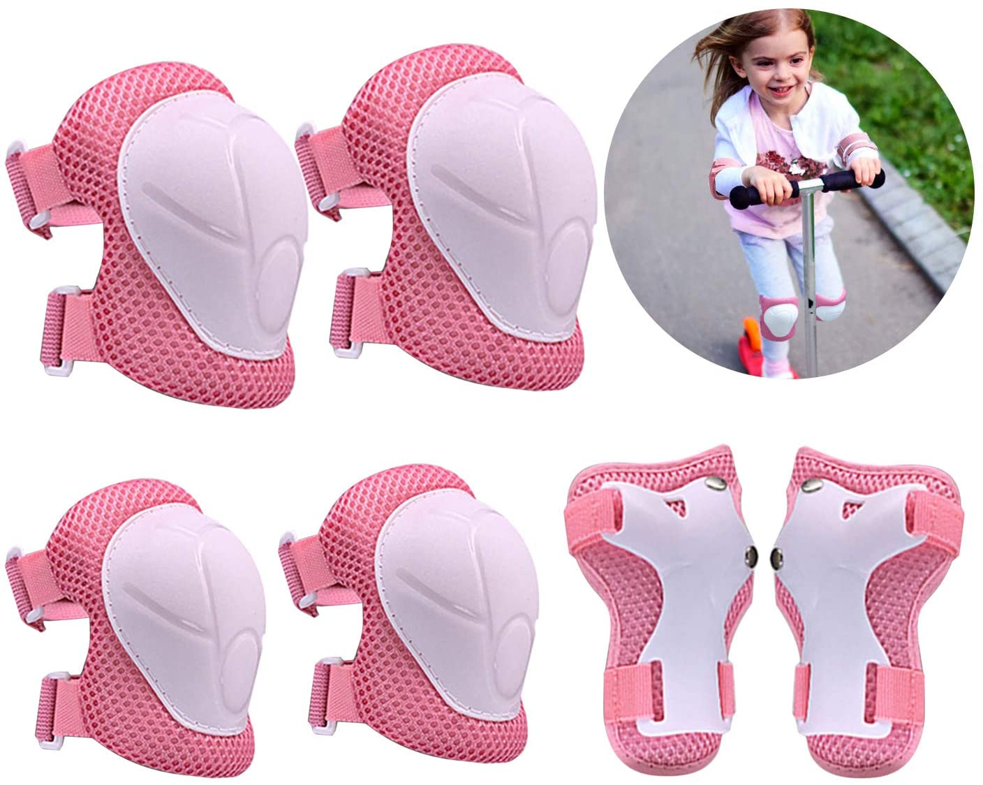 Kids Protective Gear Set Knee Pads Wrist Pads for 3~10 Years, Hebests Wrist Guard and Adjustable Strap for Rollerblading Skateboard Cycling Skating Bike Scooter, Pink
