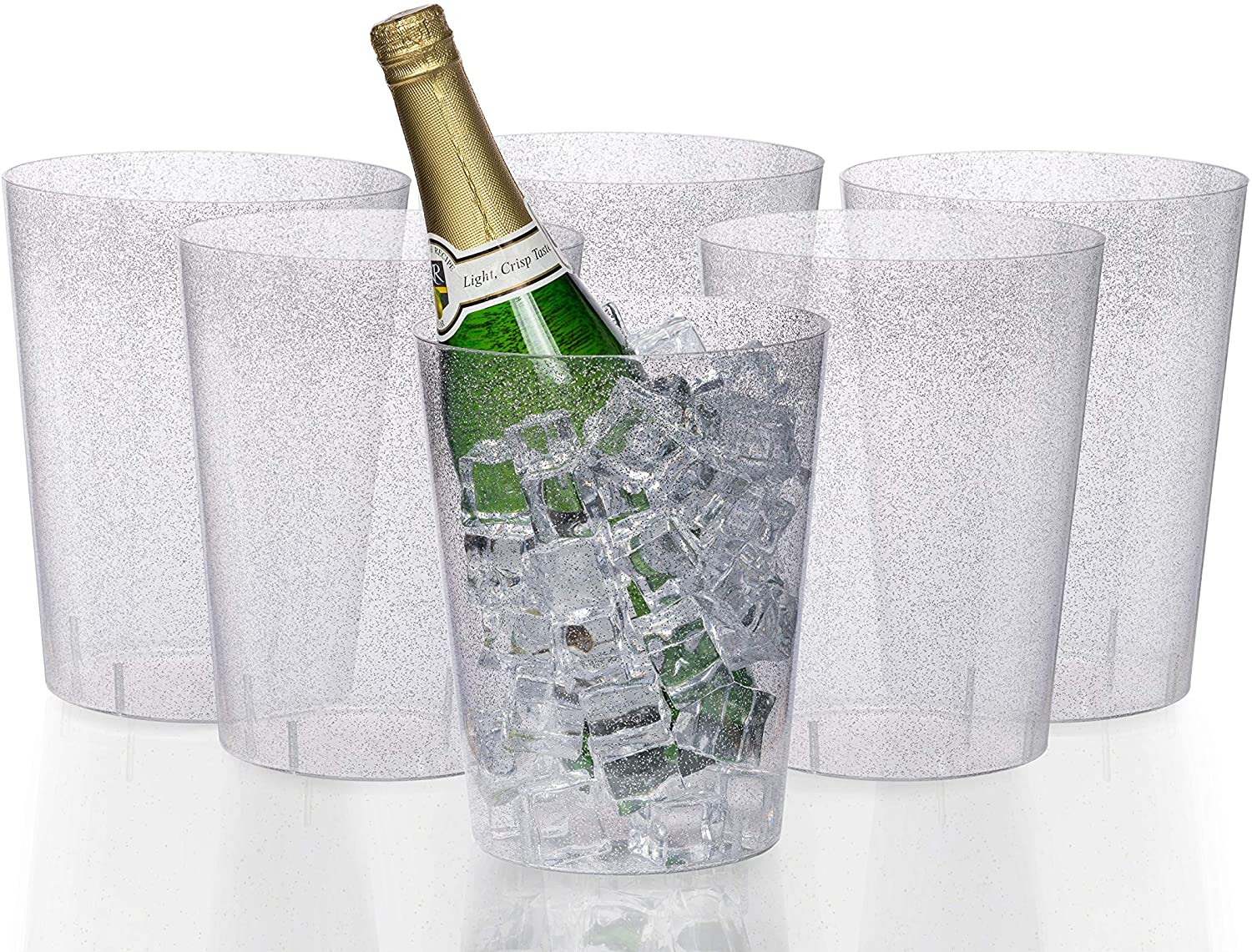 Exquisite 6 Pack Of 96 Ounce Disposable Silver Glitter Clear Plastic Ice Bucket For Parties - Good As One Large Champagne Chiller Or Classic Wine Bottle Chiller