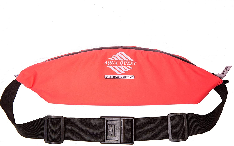 Aqua Quest Kona Running Belt - Water Resistant Zipper Pouch - Comfortable, Adjustable, Lightweight - Waist Pack for Phone, Money, Keys - Black, Orange, or Pink