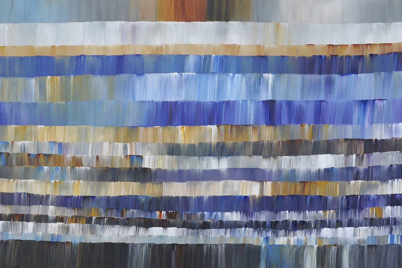 Buyartforless Abstract Blue by Thomas Gress 24x16 Art Painting Reproduction Canvas
