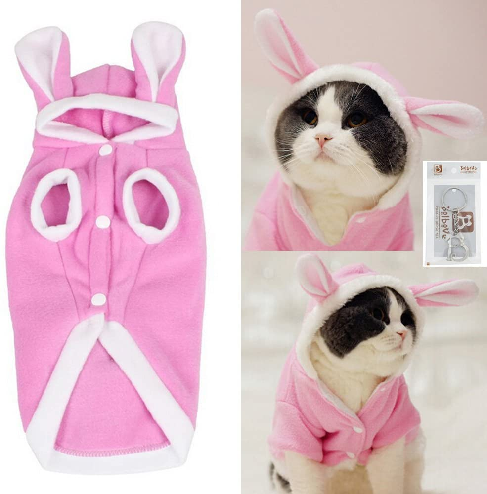 LAS Cute Cat Clothes Easter Rabbit Animals Clothing Costume Fleece Warm Cat Clothes Coat Jackets Outfit for Cats Costume 29S2 (XS)