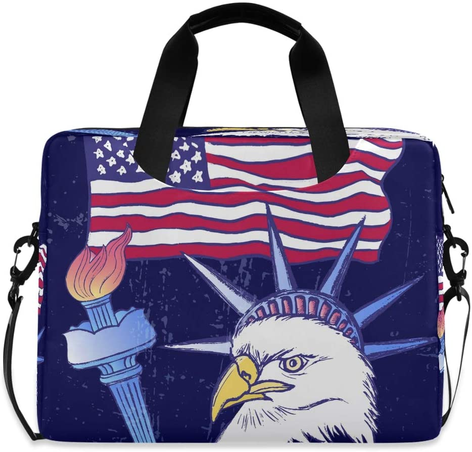 YKMUSTwin 4Th July American Flag Eagle 13-15.6 Inch Laptop Shoulder Messenger Bag Laptop Case Sleeve with Strap Computer Briefcase for Women Men Boy Girls