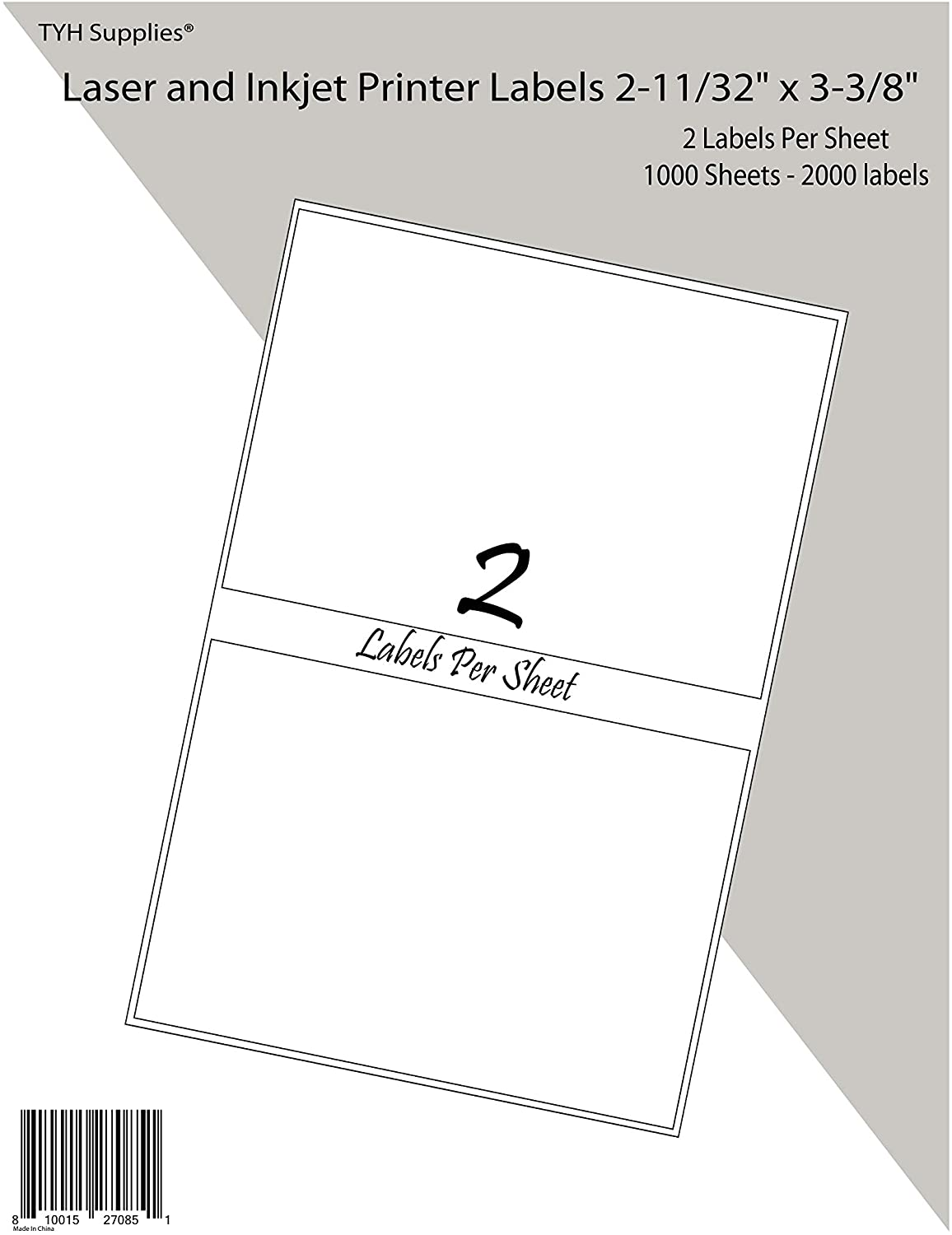 TYH Supplies 2000 Personalized Name Tags Badge White Matte Labels, Print or Write, 2-1/3 x 3-3/8 Inch, Laser and Inkjet, Strong Adhesive, Compatible with Avery 5144 Template