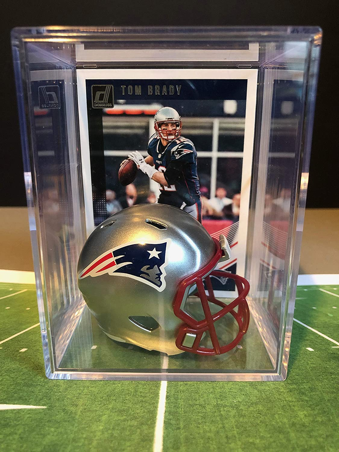 New England Patriots NFL Helmet Shadowbox w/Tom Brady card