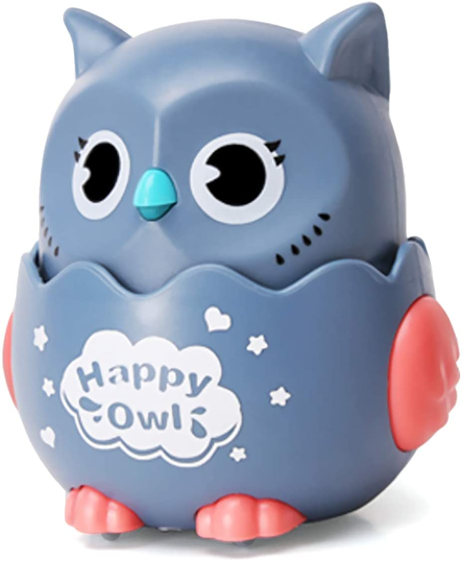 TMORU Owl Toys, Kids Owl Pull Back Toys, Creative Gift for Children Over 3 Years Old, Push to Glide, 360° Rotation, Gray
