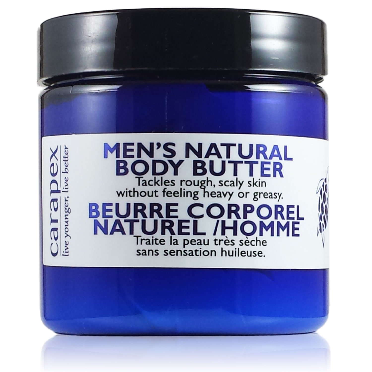 Carapex Natural Body Butter for Men, for Extreme Dryness, Extra Dry Skin, Deep Moisturizer, Unscented with Jojoba, Beeswax (Single)