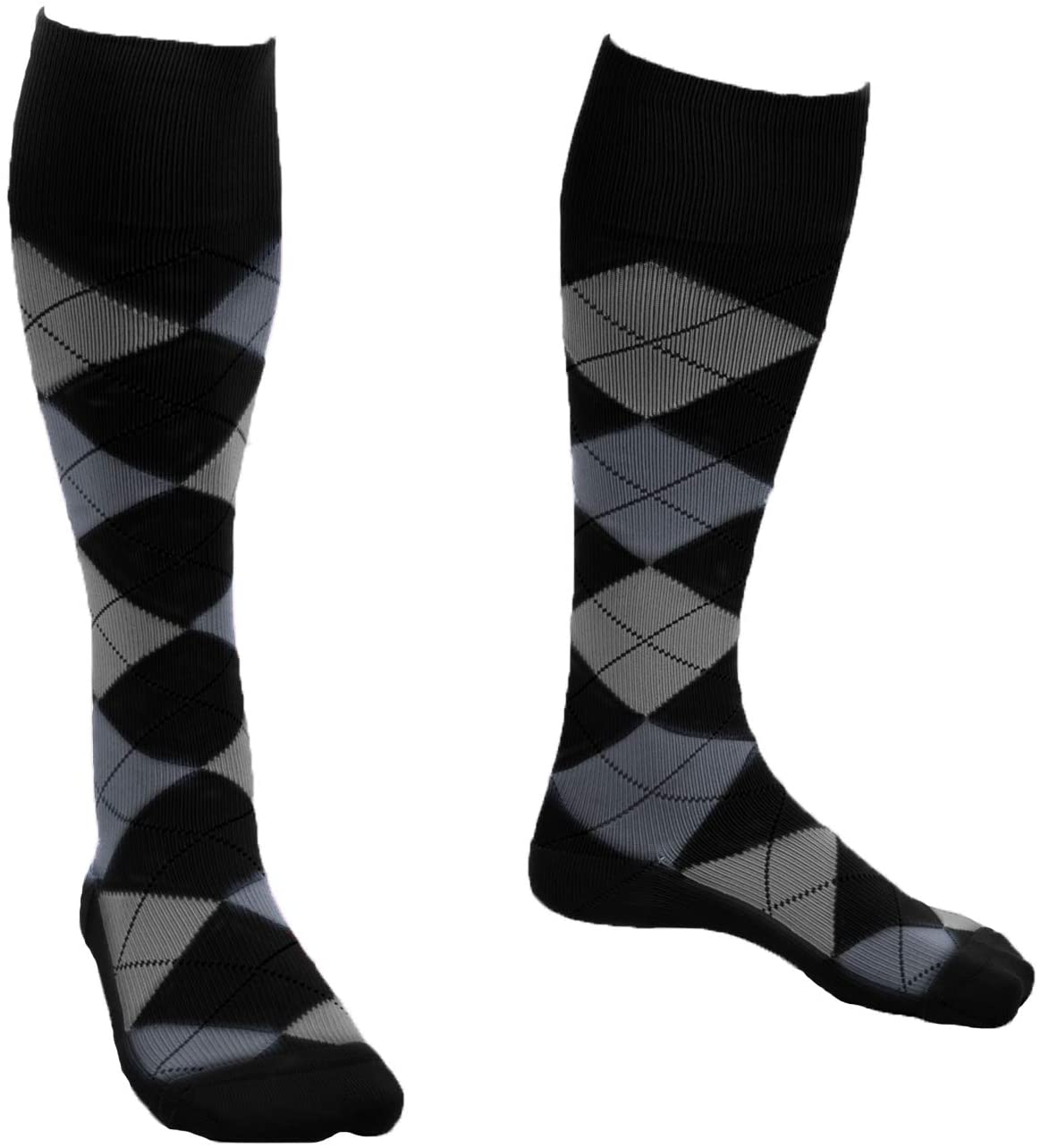 EvoNation USA Made Men & Women Argyle Graduated Compression Socks 15-20 mmHg Medical Quality Knee High Orthopedic Moderate Pressure Travel Support Stockings Hose - Best Fit Comfort (XL, Black)