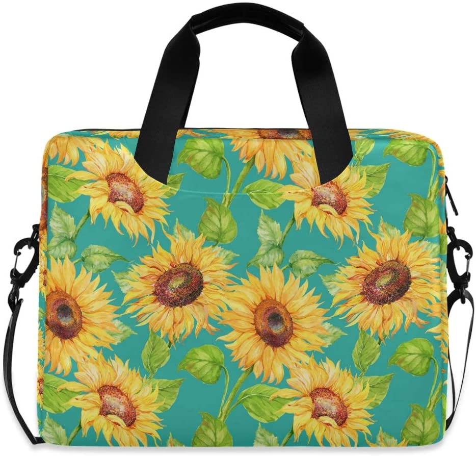 MAHU Laptop Case Bag Art Painting Sunflower Floral Laptop Sleeves Briefcase 13 14 15.6 inch Computer Messenger Bag with Handle Strap for Women Men Boys Girls