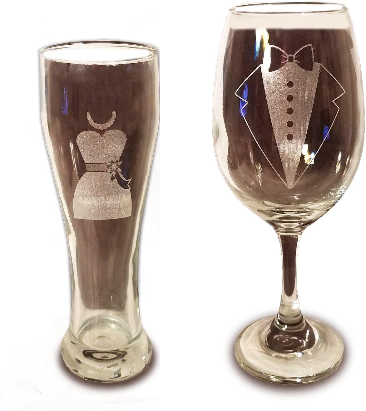 Laser Engraved Bride and Groom Glasses - 20 oz Wine Glass and 15 oz Beer Pilsner Glass - Wedding Toasting Set of 2 - Couples Gifts - Engagement Gift - Original Wedding Gifts - Custom Wedding