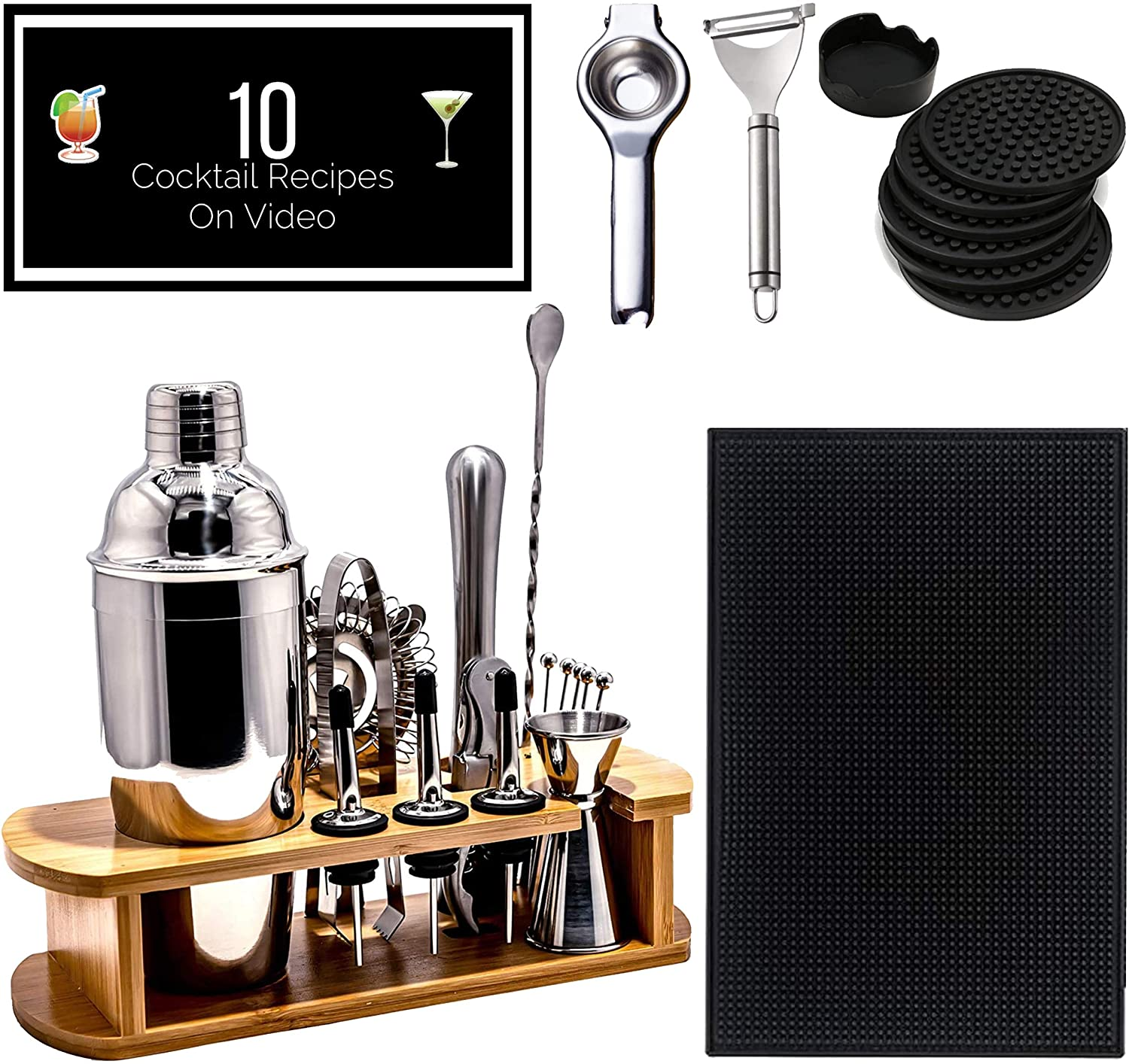 Professional bartender and mixology kit stainless steel bar tools set 26 pcs. Bar mat, coasters, peeler and squeezer, martini shaker (coctelera), accessories, stand, 10 cocktail mixing drinks recipes.