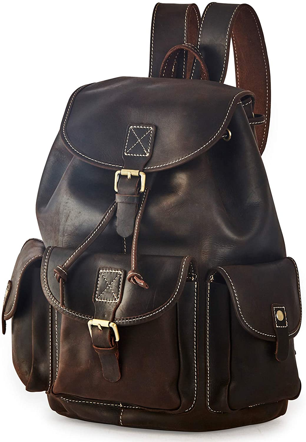 BRASS TACKS Leathercraft Mens Genuine Leather Vintage Utility Rubbed Cinched Backpack with Buckle Closures