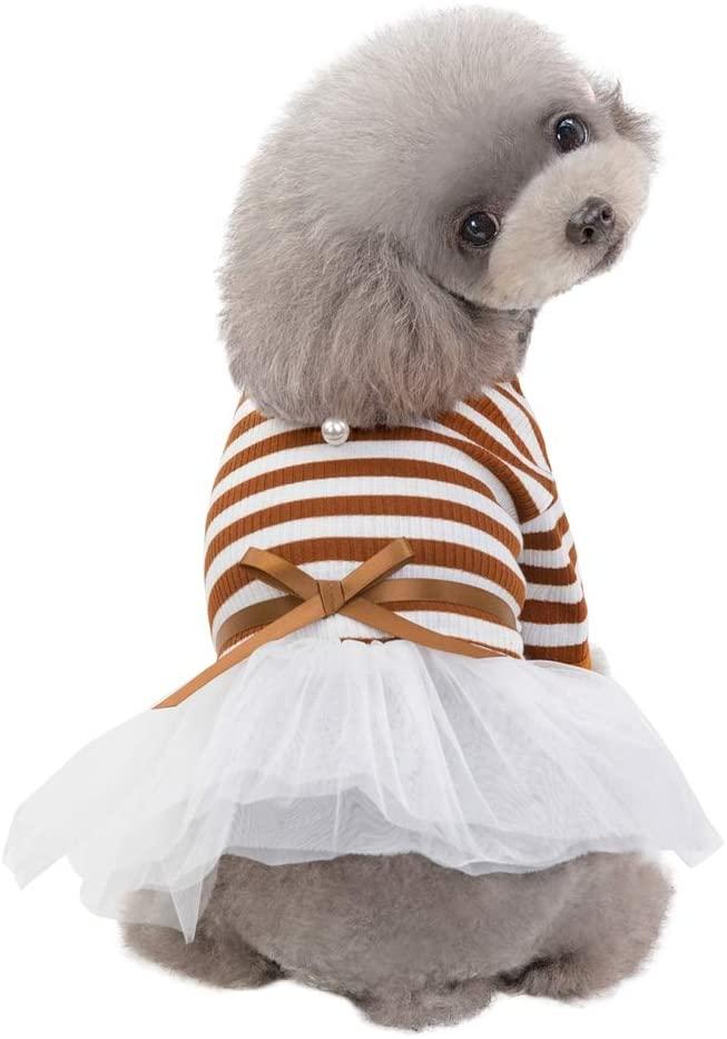 Tutuba Pet Dog Summer Dress,Classic Stripe Short Sleeve Bowknot Tutu Dress Apparel Teddy Clothes