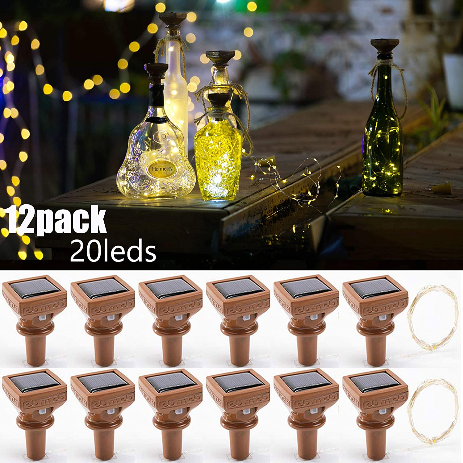 Upgraded 12 Pack Solar Wine Bottle Lights,20 LED Starry Cork Lights Solar Operated Mini Copper String Lights for Wine Bottles with Cork Christmas,Outdoor,Wedding Decor(Warm White)