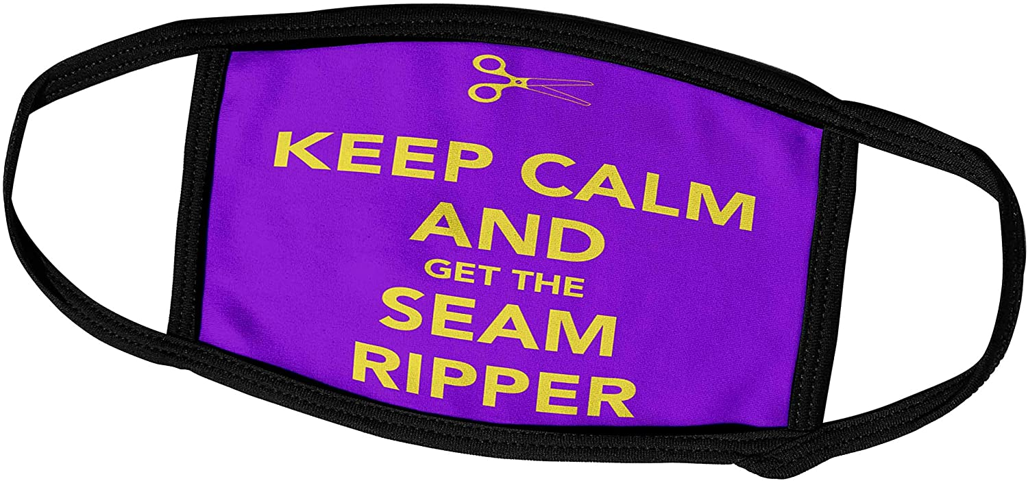 3dRose EvaDane - Funny Quotes - Keep Calm and get The Seam Ripper, Purple and Yellow, Face Masks (fm_172005_3)
