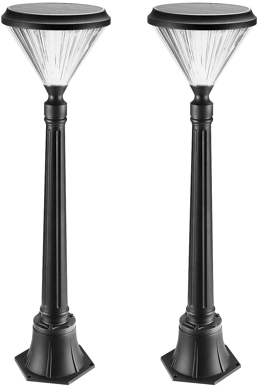 ENGREPO Solar Post Lights Outdoor, 40 Inches Solar Powered Street Lights for Lawn, Pathway, Driveway, Front/Back Door, Pack of 2
