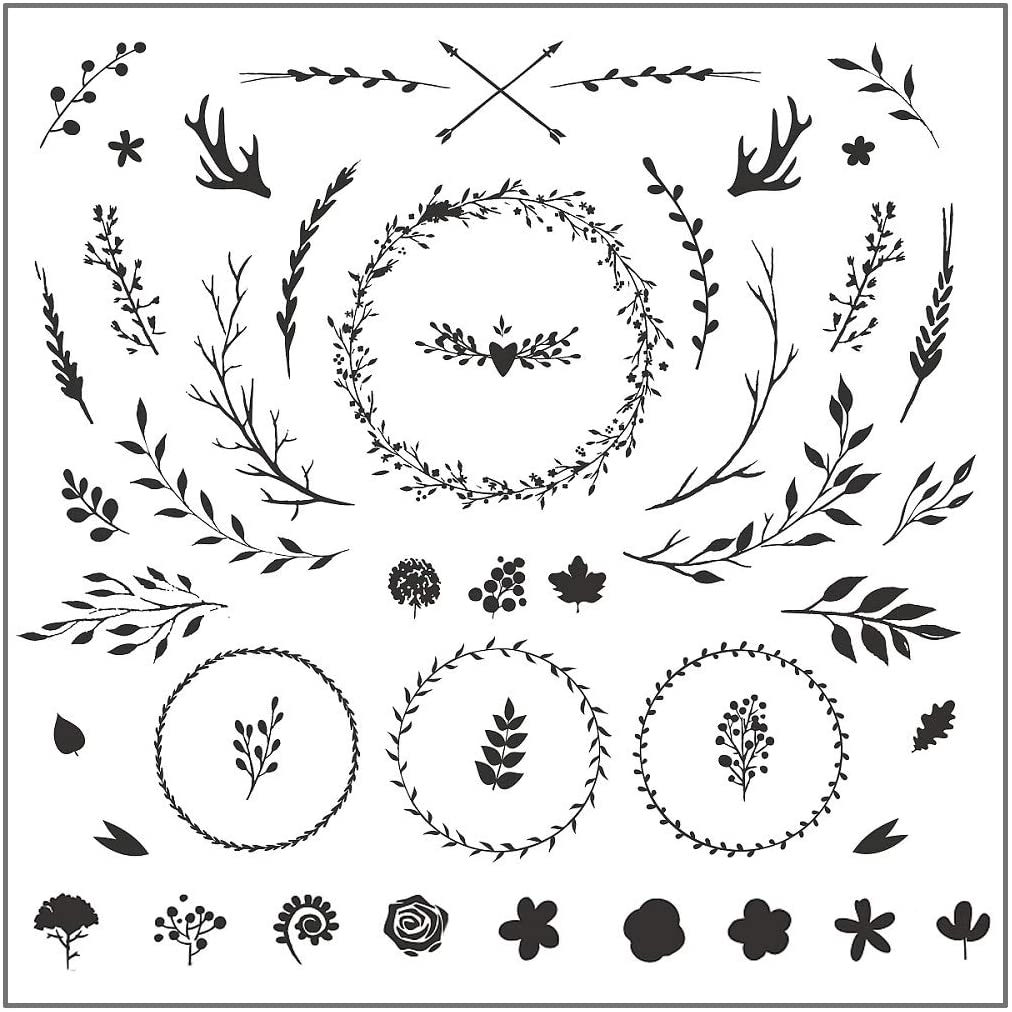 Clear Stamp, QINYUAN,Garland Leaves Flower Transparent Clear Silicone Stamp Seal for DIY Scrapbooking Photo Album Decorative