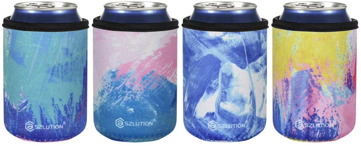 CASE STAR 12OZ Standard Can Sleeves Insulators Neoprene Can Skin Covers Sleeves Neoprene Can Holder Insulated Beer Coolers Beer Bottle Sleeves (Watercolor-4pcs Set)