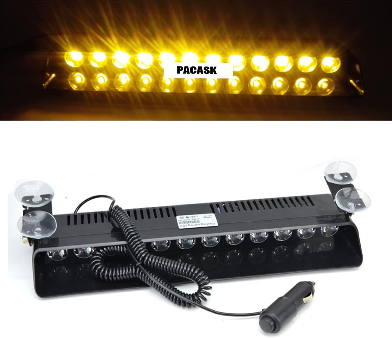 PACASK 12 LED Windshield Warning Light 12W 12V Dashboard Interior Car Truck Emergency Strobe Flash Light (Yellow)