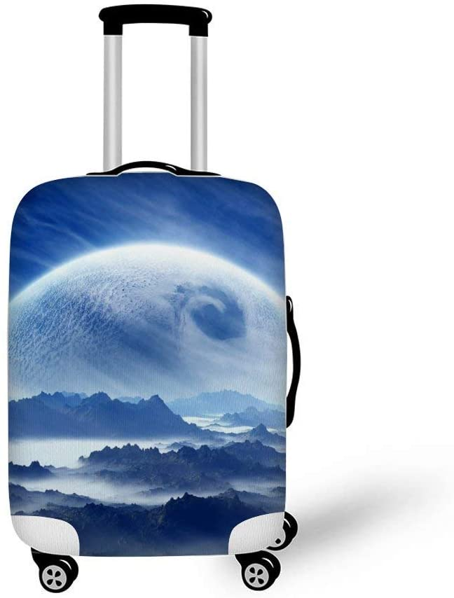 Planet In The Sky Above The Mountains Fashionable Baggage Suitcase Protector Travel Luggage Cover Anti-Scratch