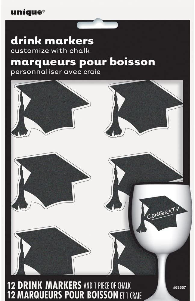 Graduation Chalkboard Drink Markers, 12ct