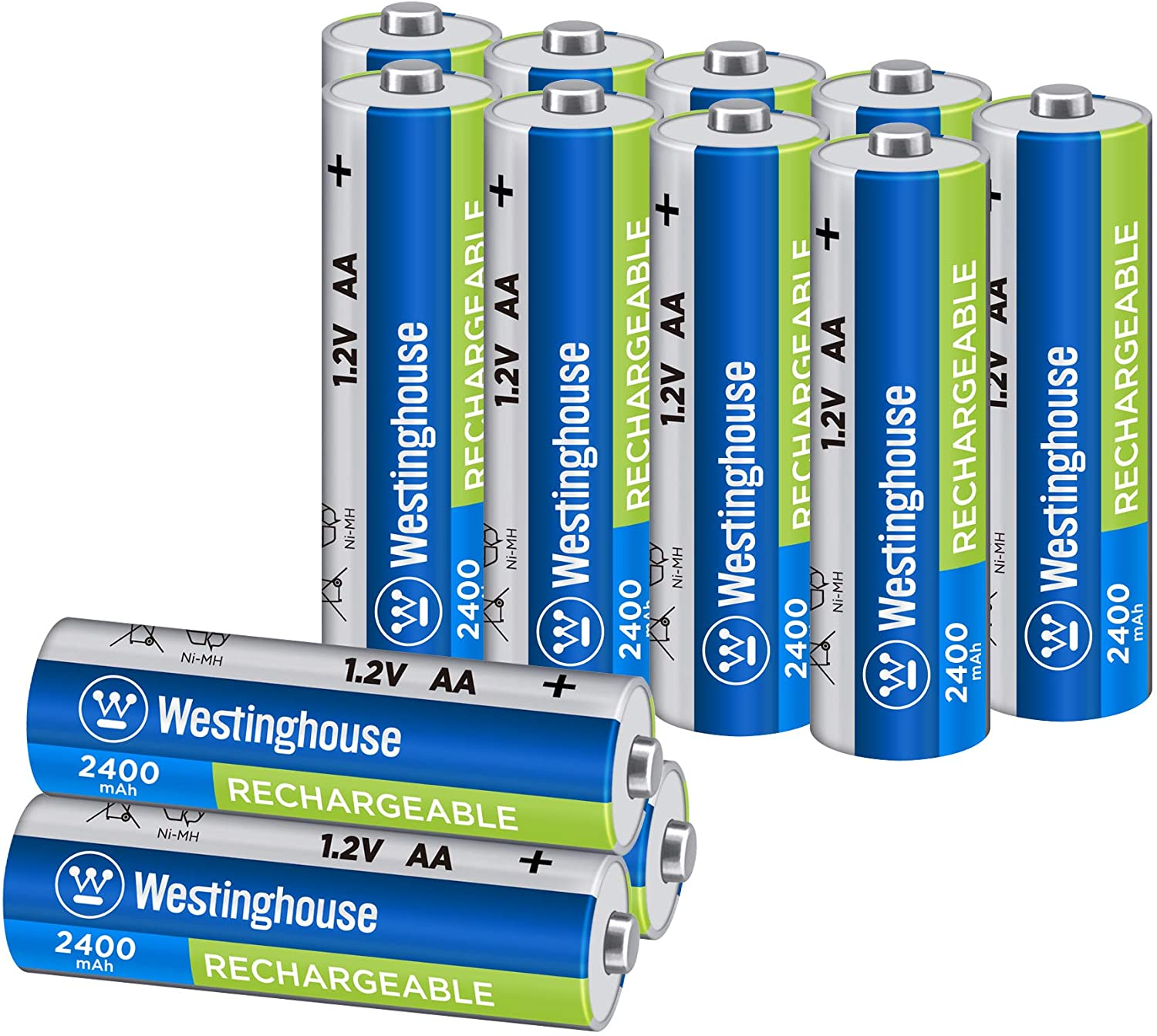 Westinghouse Rechargeable Battery, high Capacity 2400mAh NH Rechargeable Battery, 1 Year Low self Discharge (AA, 12 Counts)