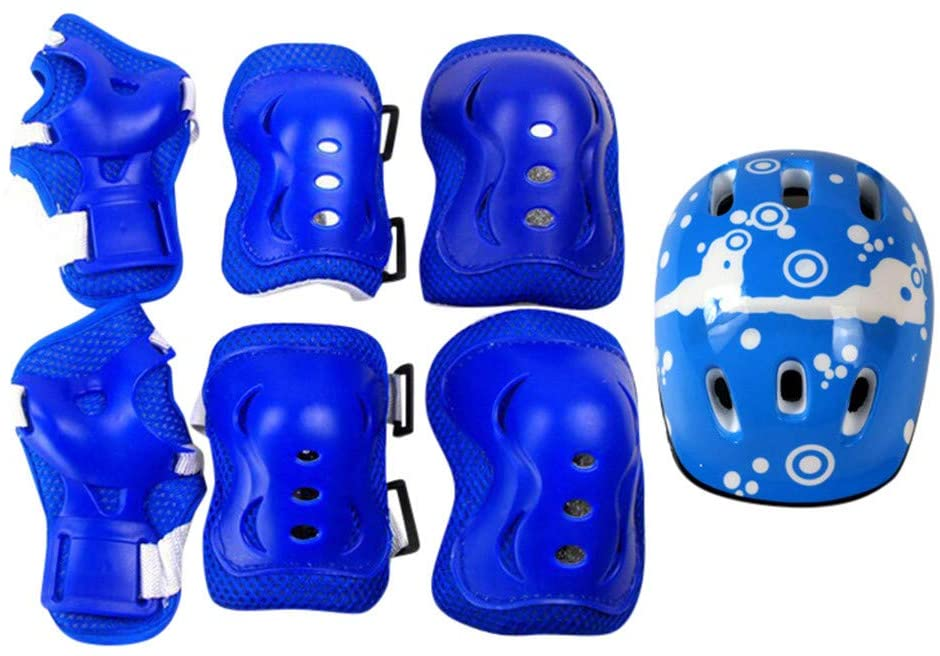 TOTAMALA 7 Piece Set Children's Protective Gear for Skateboard Skates Balance Rollerblading Scooter Cycling Bicycle Bike Safety Knee Pads Elbow Pads Wrist Guard Kit for Kids 6-12 Years
