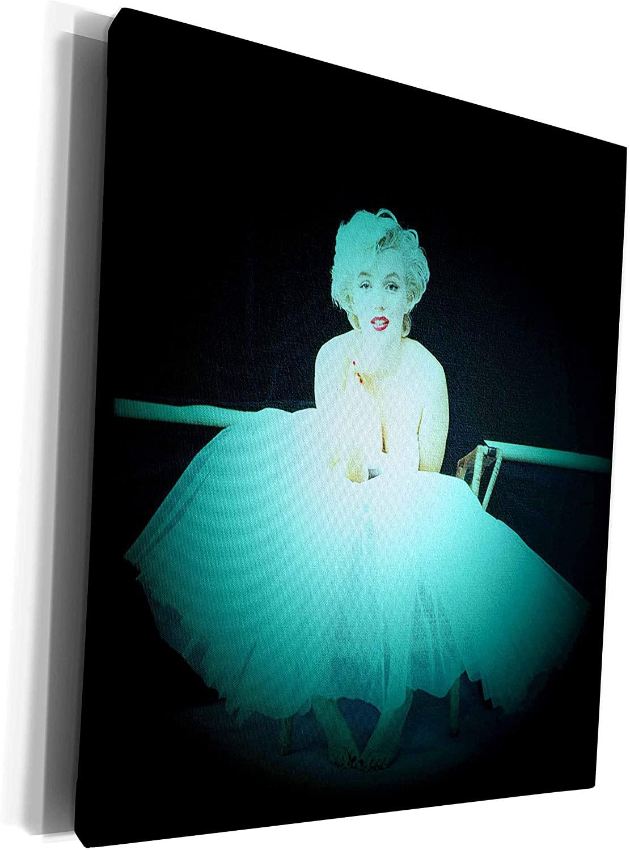 3dRose RinaPiro - Marilyn Monroe - Marilyn Monroe. Legendary screen actress and model. Black turquoise. - Museum Grade Canvas Wrap (cw_261332_1)
