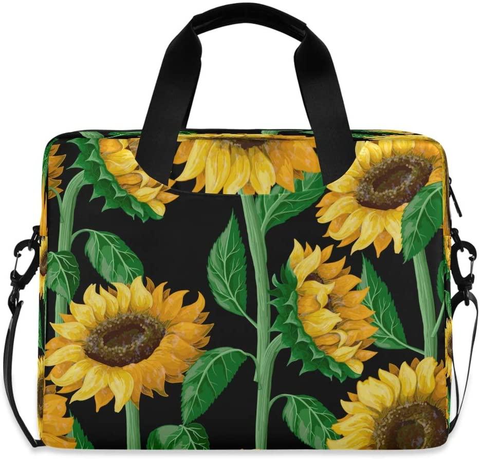 YKMUSTwin Vintage Flower Sunflower Leaf 13-15.6 Inch Laptop Shoulder Messenger Bag Laptop Case Sleeve with Strap Computer Briefcase for Women Men Boy Girls
