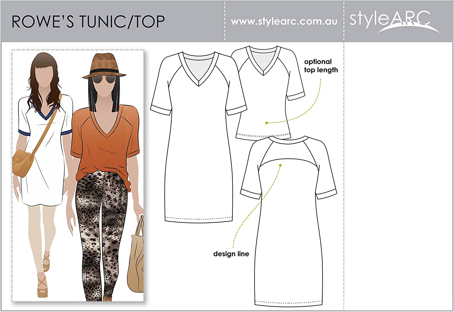Style Arc Sewing Pattern - Rowes Raglan Tunic Top - Sizes 18-30 - Click for Other Sizes Available