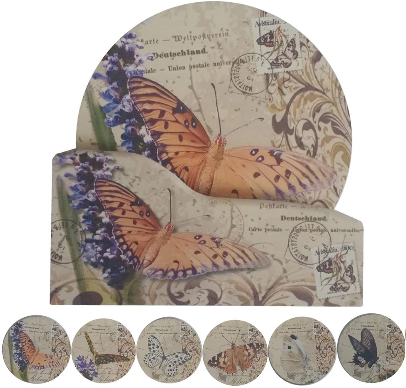 Coralpearl Cork Absorbent Coasters with Holder Decorative Round Heat Resistant Pad Mats Spoon Rest Trivet Set Table Runner Kit Large for 6 Drinks Hot Pans,Pots,Stovetop,Counter (4.3