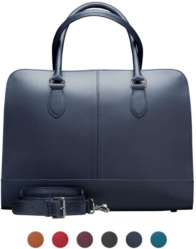Su.B.dgn 15.6 Inch Laptop Bag with Trolley Strap for Women - Leather Briefcase, Handbag, Messenger Bag - Dark Blue