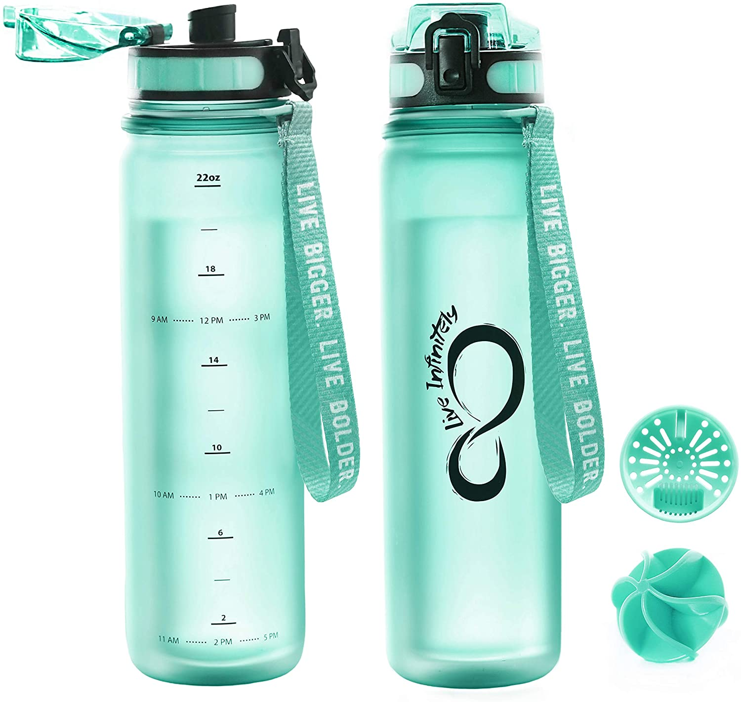 Live Infinitely 24 oz Insulated Double Walled Water Bottle with Time Marker, Fruit Infuser Screen & Shaker Blending Ball - Locking Flip Top Lid & Durable Rubberized Bottle Coating