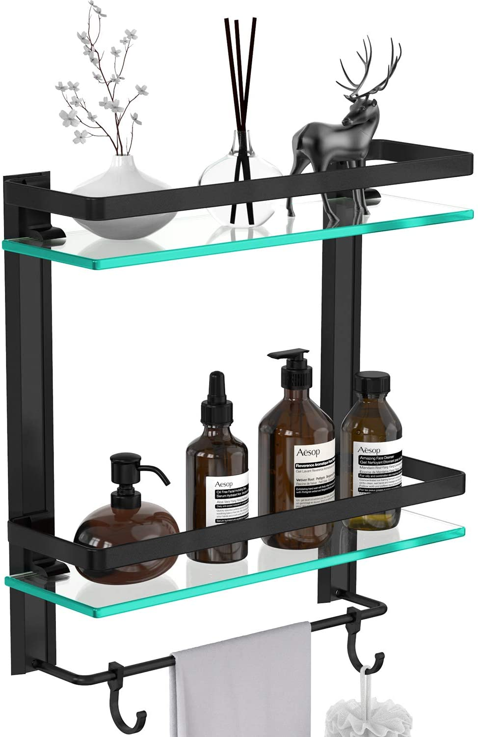 Vdomus Tempered Glass Bathroom Shelf, 2 Tier Shelf with Towel Bar Wall Mounted Shower Storage 15.2 by 5 inches, with Anodic Oxidation Finish (Black)