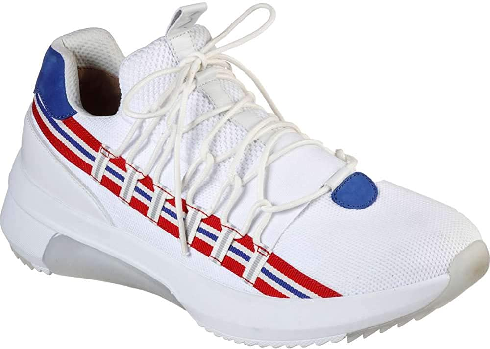 Skechers Men's Modern Jogger 2-0 Loop Fashion Sneakers White/Red/Blue