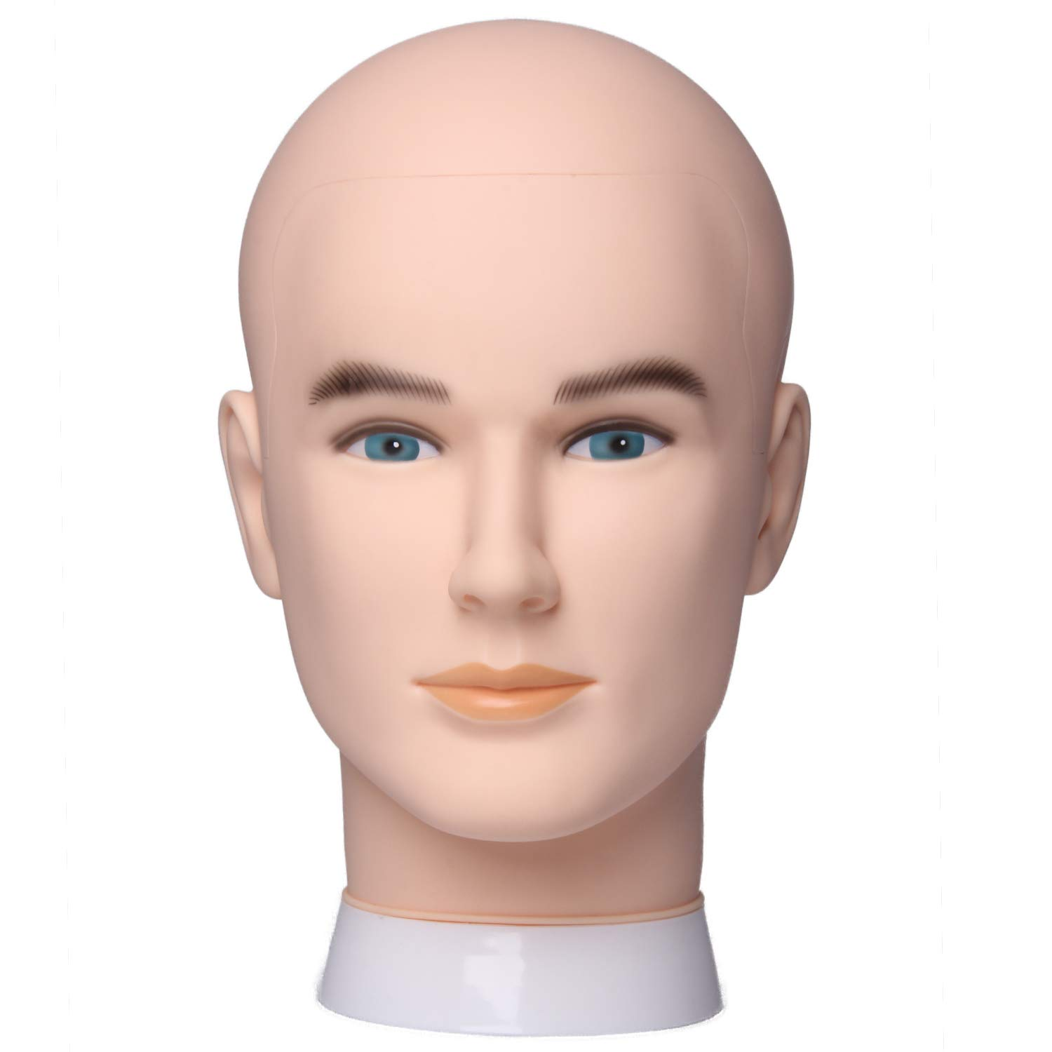 HAIR WAY Bald Mannequin Head Male Professional Cosmetology for Wig Making and Display, Hat, Helmet, Glasses or Masks Display Head Model with T-pins
