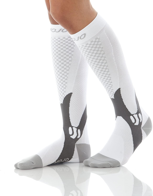 Mojo Compression Socks for Men & Woman | Compression Stockings | White 2 XL