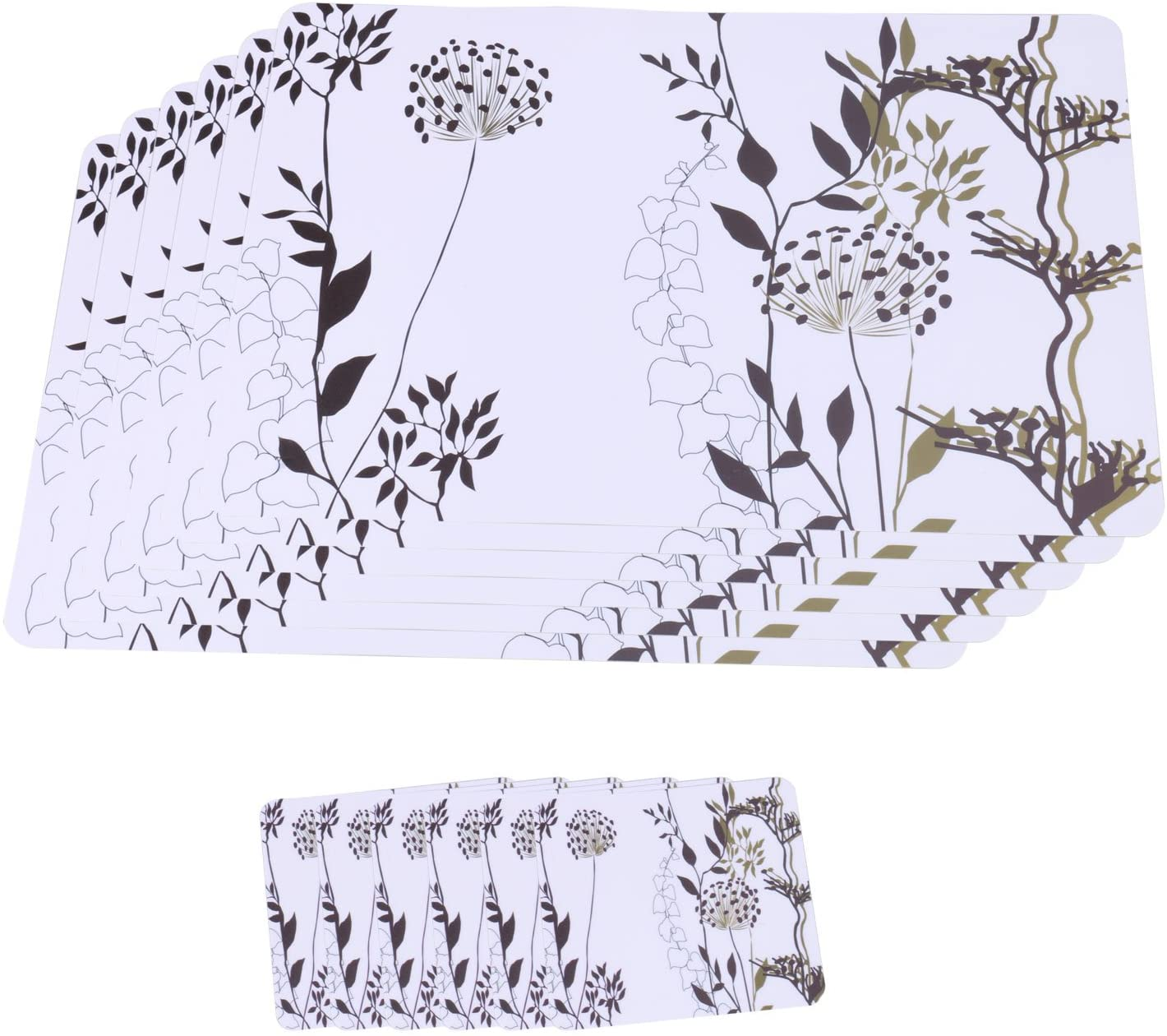 Clear Transparent Place Mats Kitchen Table Black and White Placemats for Dining Table Mats Set of 6 + 6