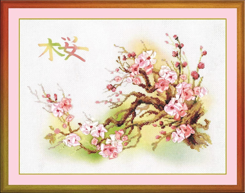 RIOLIS 0029 PT Branch of Sakura - Counted Cross Stitch Kit - 16