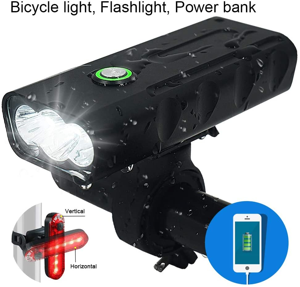 3 LED 1000 Lumen Bicycle Headlight USB Rechargeable Built in Battery Bike Light with Charging Function - Free LED Taillight Waterproof Accessories Aluminum Alloy Cycling Light Safety Flashlight