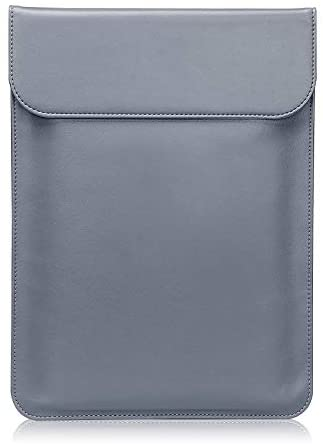 LuvCase Laptop Leather Flap Envelope Sleeve Pouch Case Compatible MacBook Pro 15-16 Inch, A2141/A1707/A1990/A1398/A1286, Chromebook, Acer, Thinkpad HP Notebook (Grey Magnetic Sleeve (Vertical))