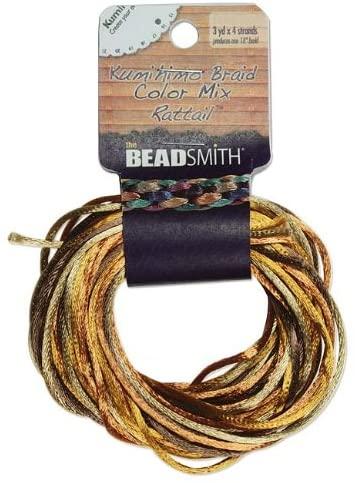 Satin Rattail Braiding Cord 3mm Wheatberry Mix 4 Colors - 3 Yds Each