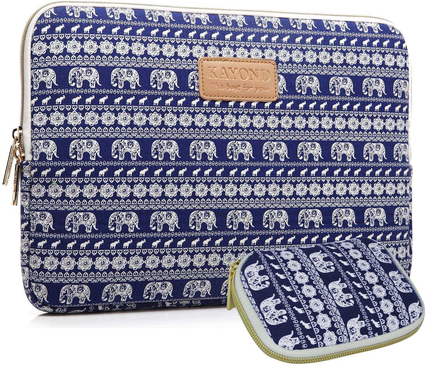 KAYOND KY-23 Canvas Fabric Sleeve for 12.5-Inch Laptops - Elephant Patterns