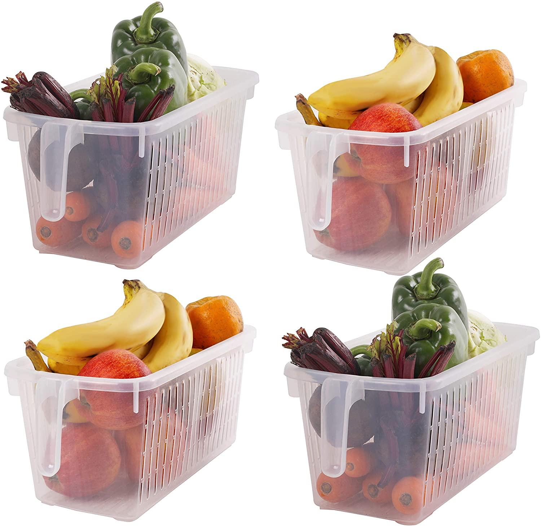 Kurtzy Storage Basket (4 Pack) - (L 12.59 x W 5.9 x H 5.31 inch) Plastic Fridge Basket with Handle for Organizing Shelves, Refrigerator, Pantry, Kitchen, Bathroom