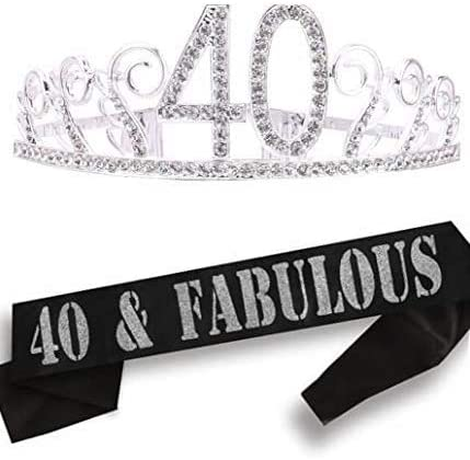 40th Birthday Gifts for Women, 40th Birthday Tiara and Sash, 40th Birthday Party Supplies| 40 & Fabulous Black Glitter Satin Sash, Tiara Birthday Crown, 40th Birthday Party Supplies and Decorations