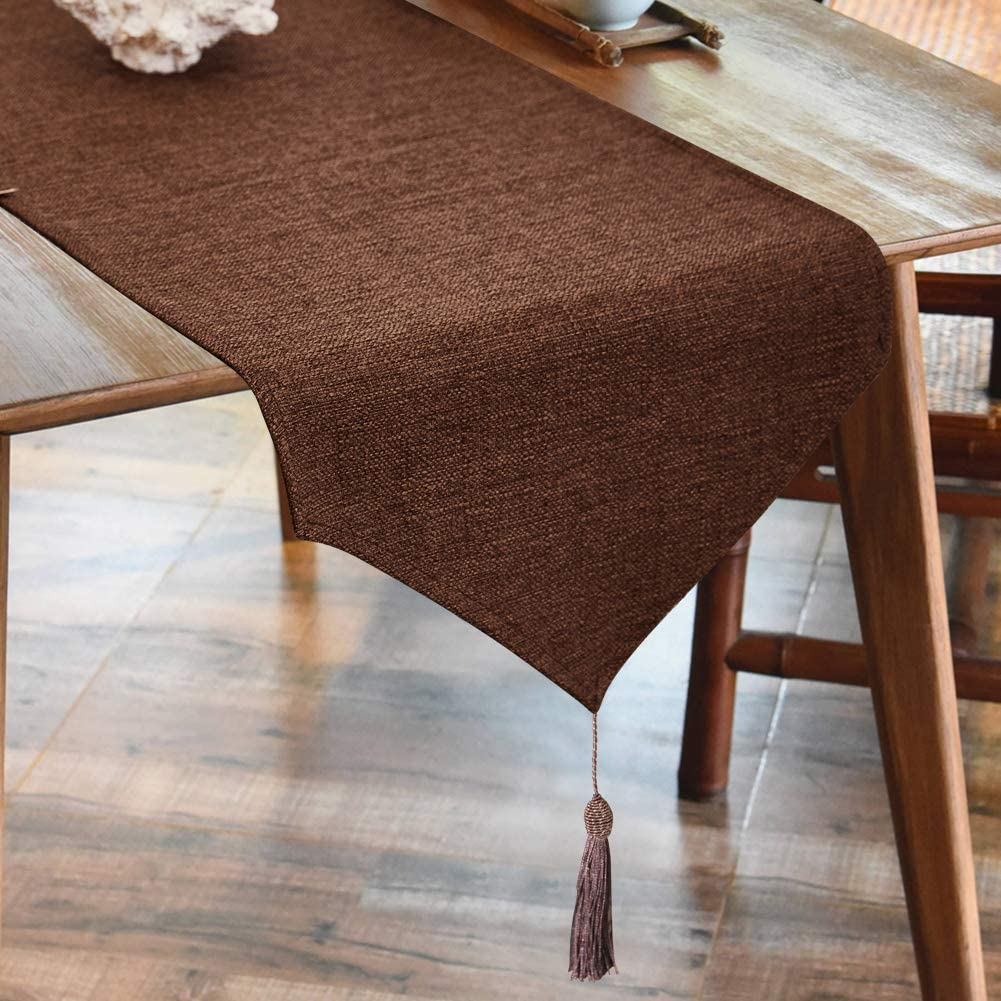 BALCONY & FALCON Linen Table Runner Washable Waterproof Table Runners Wipeable Home Decoration Tablecover for Dining Room Kitchen - Brown 35x180