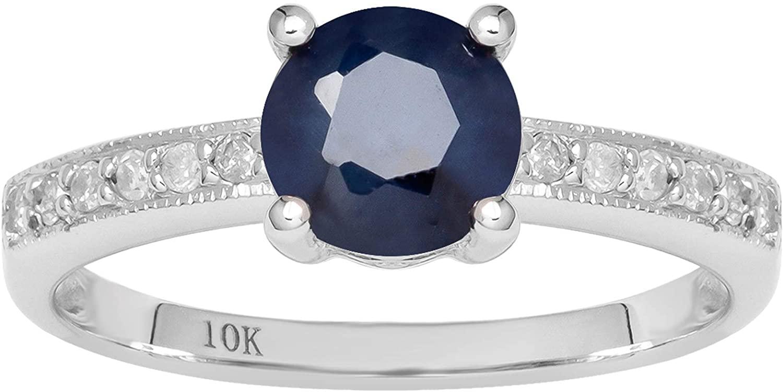 10k White Gold Genuine Round Sapphire and Diamond Ring