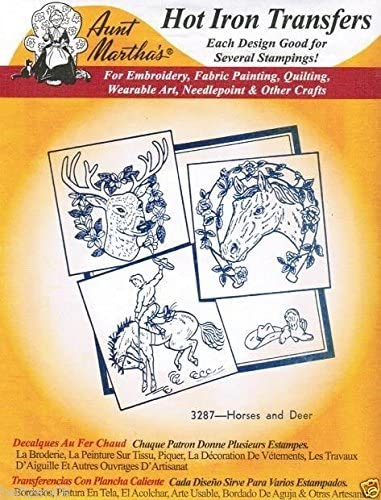 Horses and Deer Aunt Martha's Hot Iron Embroidery Transfer #3287 supply:holtzen09
