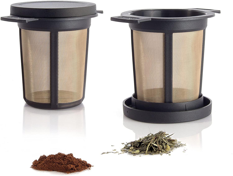 Finum Reusable Stainless Steel Coffee and Tea Infusing Mesh Brewing Basket, Medium, Black