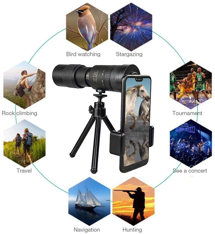 weemoment 4K 10-300X40mm Super Telephoto Zoom Monocular Telescope, Waterproof Monocular Telescope Suit Clear Vision Fogproof for Bird Watching Hunting Camping Travelling Hiking