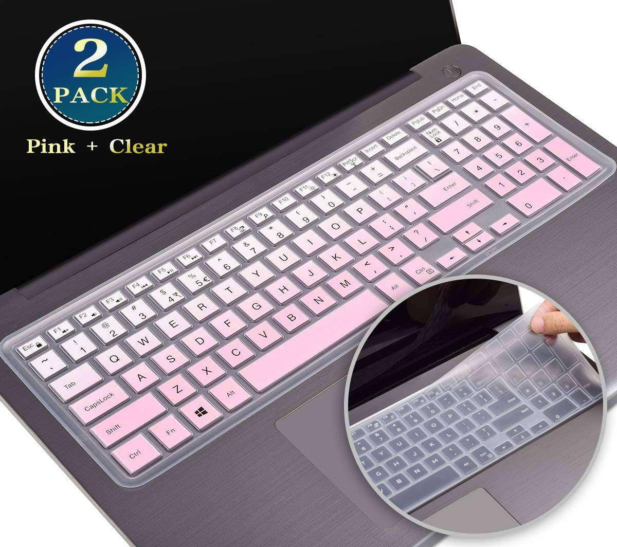 Silicone Keyboard Cover Skin for Dell G3 G5 G7 15.6 Inch Series, Dell G3 G7 17 Series, Dell Inspiron 15 3000 5000 Series, Dell Inspiron 17 5000/New Dell Inspiron 17 3000 Series Protector(Pink+Clear)
